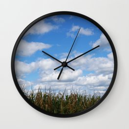 "Corn field in autumn with ""popcorn"" clouds Wall Clock"