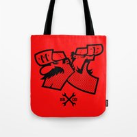 mario bros Tote Bags featuring Mario & Luigi - BROS by La Manette