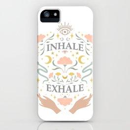 Breathe, inhale exhale yogi zen master poster white iPhone Case