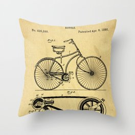 Bicyole Support Patent Drawing From 1890 Throw Pillow