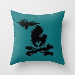 MI Campfire Throw Pillow