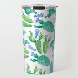 Watercolor hand painted violet green cactus floral Travel Mug
