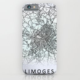 Limoges, France, White, City, Map iPhone Case