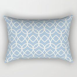 Blue Off White Geometric Pattern Teardrop 2021 Color of the Year Earth's Harmony Brightened Cream Rectangular Pillow