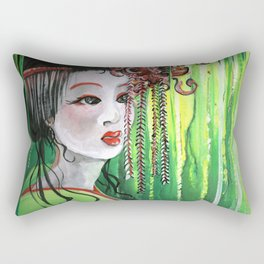 Geisha in Willows: The Arrogant Concubine Rectangular Pillow