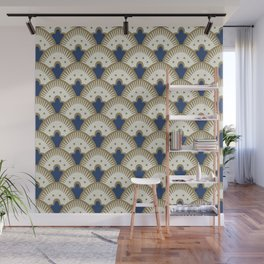 Fan Pattern Blue/Gold Wall Mural