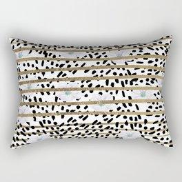 Lavender black faux gold stripes brushstrokes floral Rectangular Pillow
