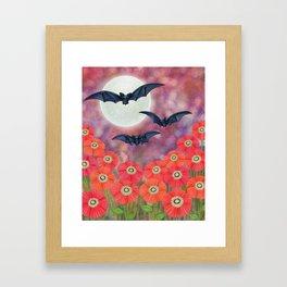 moonlit black bats and poppies Framed Art Print