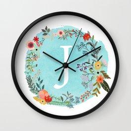 Personalized Monogram Initial Letter J Blue Watercolor Flower Wreath Artwork Wall Clock