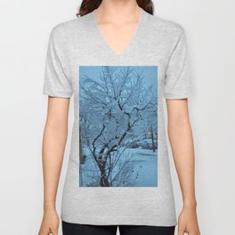 Snow Covered Tree Unisex V-Neck