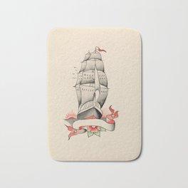 Vintage Tattoo Design with a Ship Bath Mat