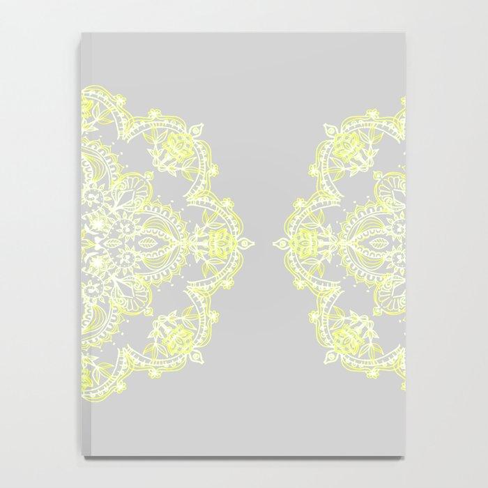 Pale Lemon Yellow Lace Mandala on Grey Notebook