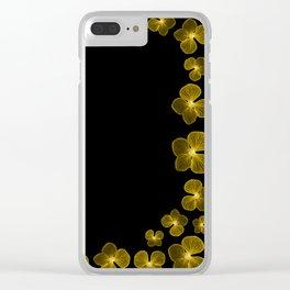 Golden Yellow Flower Border Clear iPhone Case