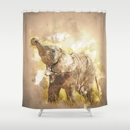 Elephant - It's Tea Time! Shower Curtain