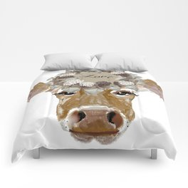 Cow with Love Hat Comforters