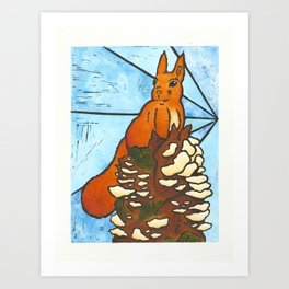 Stained Glass Red Squirrel Art Print