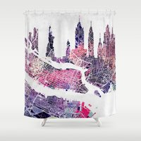 new york skyline Shower Curtains featuring New York Skyline + Map by Map Map Maps