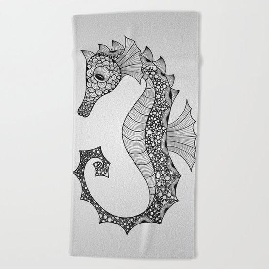 Drawn Seahorse Beach Towel
