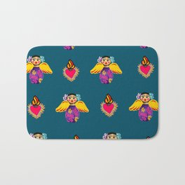 Mexican Angels and Hearts Cerulean Bath Mat