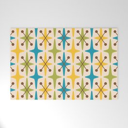 Mid Century Modern Abstract Star Pattern 441 Yellow Brown Turquoise Chartreuse Welcome Mat