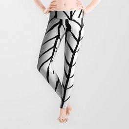 black and white modern hand drawn herringbone chevron pattern Leggings