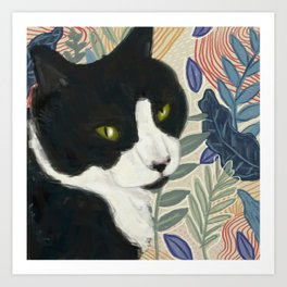 Tropical Cat Art Print