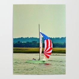 US Flag Sailboat Poster