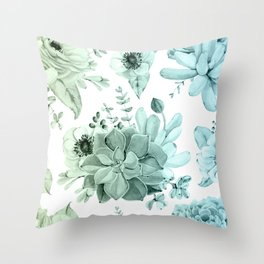 Simply Succulent Garden in Turquoise Green Blue Gradient Throw Pillow