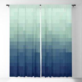 Gradient Pixel Aqua Blackout Curtain