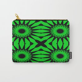Green & Black Pinwheel Flowers Carry-All Pouch