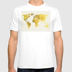 World Map Mens Fitted Tee MEDIUM White