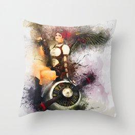 Aircraft Girl Throw Pillow