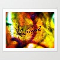 marijuana Art Prints featuring Marijuana  by SilverFoxRun