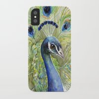 peacock iPhone & iPod Cases featuring Peacock by Olechka