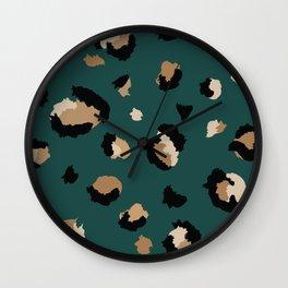 Teal Leopard Print Wall Clock