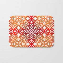 Tribal Tiles II (Red, Orange, Brown) Geometric Bath Mat
