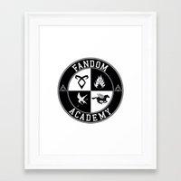 fandom Framed Art Prints featuring Fandom Academy by Thg Fashion