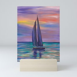 Colorful Sunset of a Boat in Ocean landscape Mini Art Print