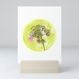 Allium on Green with Pink Mini Art Print