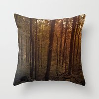 poland Throw Pillows featuring Forest in Poland by vikfdz