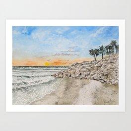 Beach sunset art print Art Print