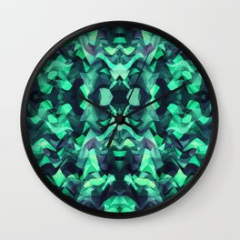 Abstract Surreal Chaos theory in Modern poison turquoise green Wall Clock