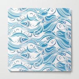 Boho Stylized Wave Pattern Metal Print