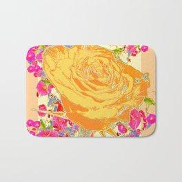 CORAL COLOR ART &  ORANGE ROSE PINK  FLOWERS  DESIGN Bath Mat