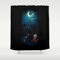 dragon ball z Shower Curtains featuring Camping 2 by Freeminds