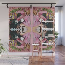let them eat cake! a pink and green paper collage Wall Mural
