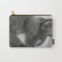 Close Up Portrait Of A Relaxed Grey Cat  Carry-All Pouch