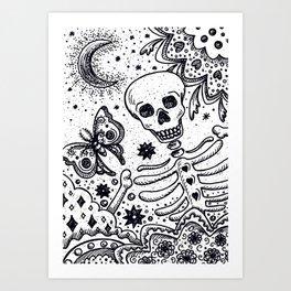 BONES IN THE GARDEN Skeleton And Moon Moth Art Print