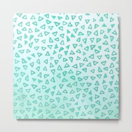Teal Glitter Triangles Metal Print