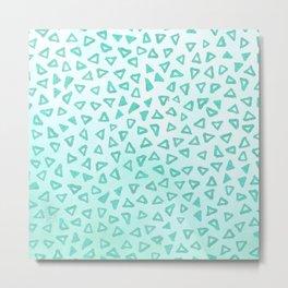 Teal Glitter Triangles Metal Print